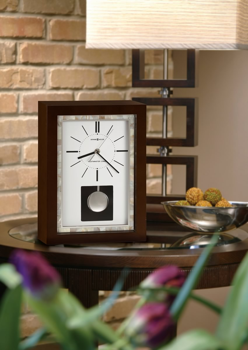 "14""H Mia Mantel Clock Worn Black (Brown Undertone)"