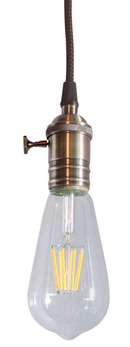 "2""W Antique Brass Bare Bulb 1 Light Pendant with Retro Switch on Socket by Home Concept"