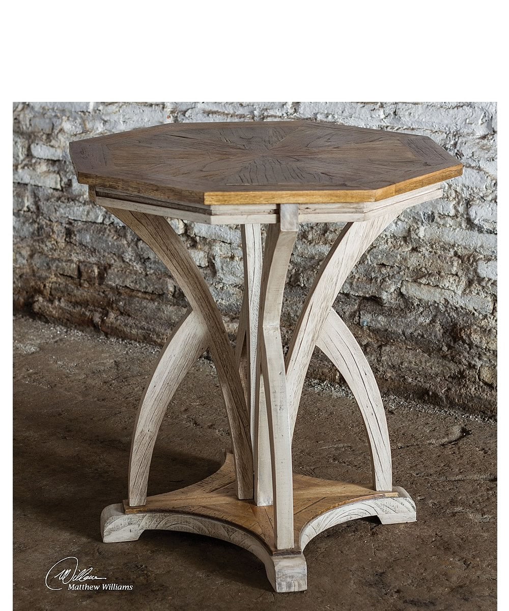 "28""H Ranen Aged White Accent Table"