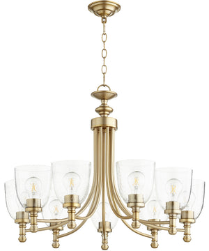 "31""W Rossington 9-light Chandelier Aged Brass w/ Clear/Seeded"