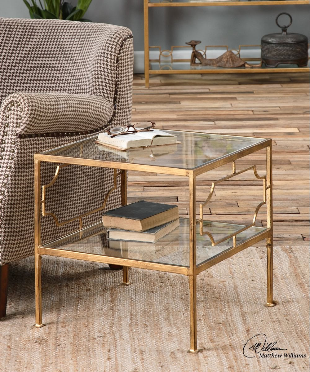 "19""H Genell Gold Cube Table"
