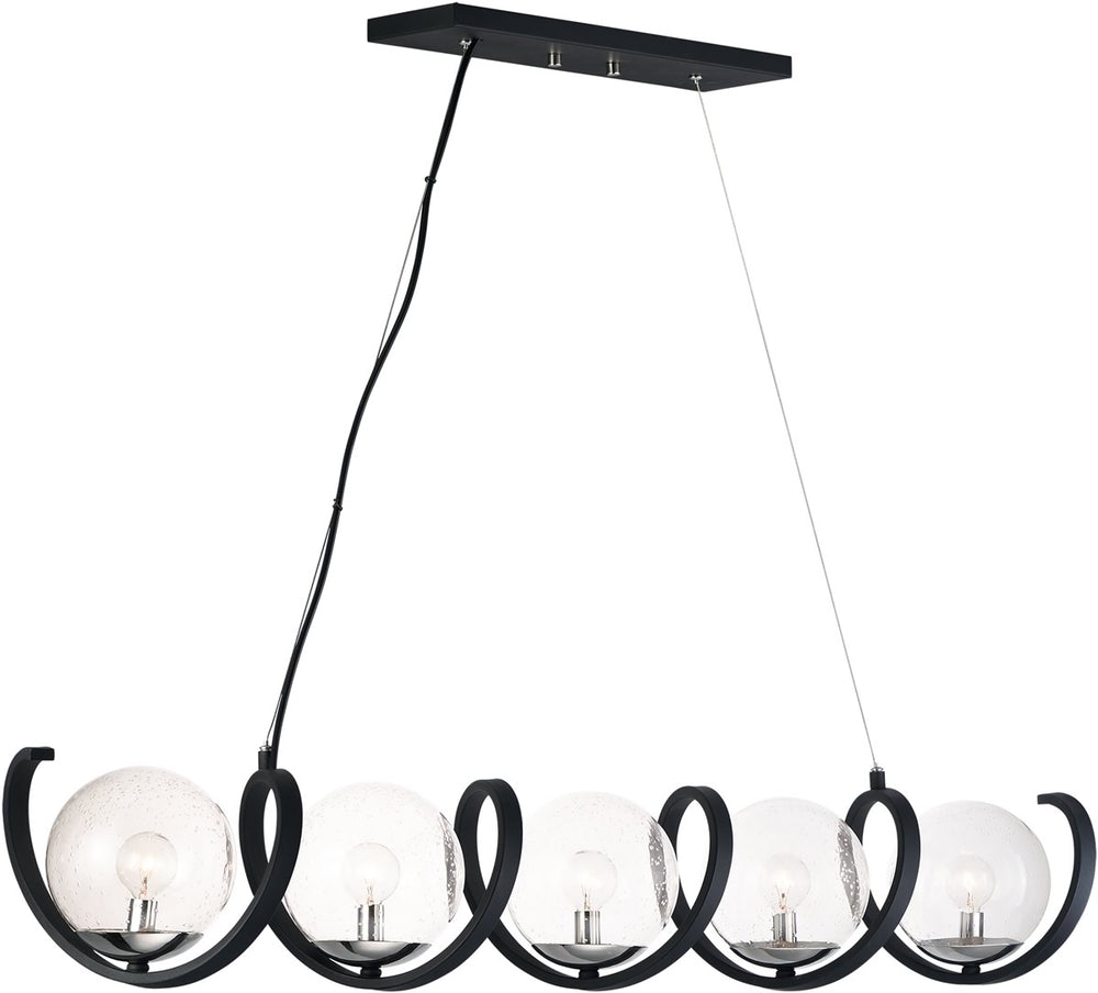 "49""W Curlicue 5-Light Pendant Black / Polished Nickel"