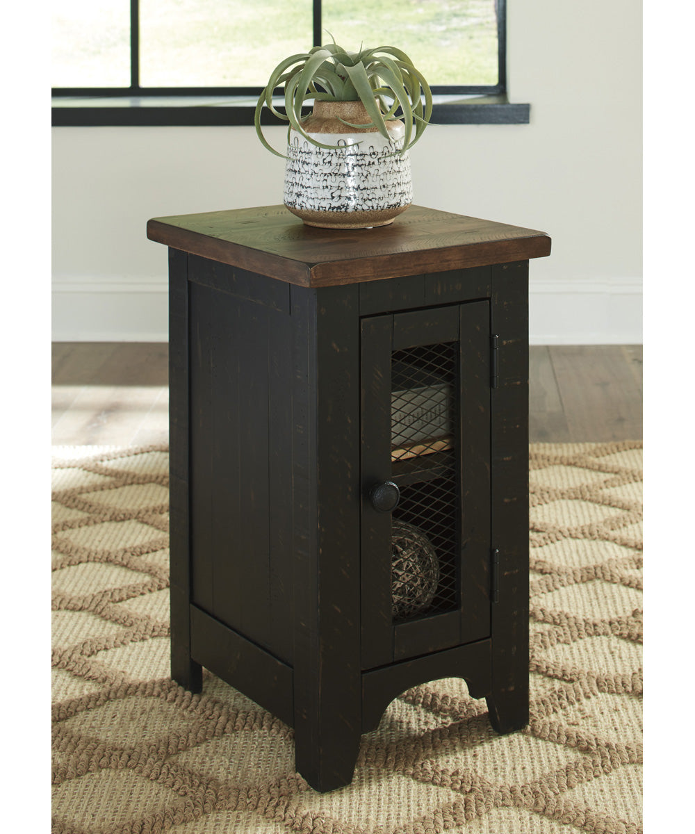 "25""H Valebeck Chair Side End Table Black/Brown"