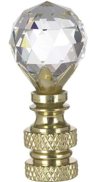 "2""H Stephanov Multi-Faceted Lamp Finial Crystal Ball Polished Brass Finish"