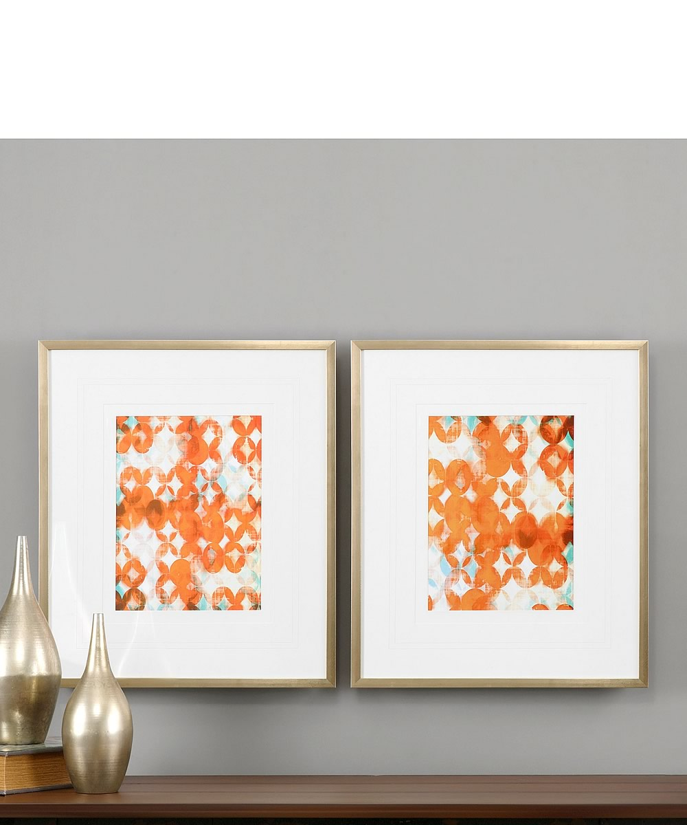 "28""H x 24""W Overlapping Teal And Orange Modern Art Set of 2"
