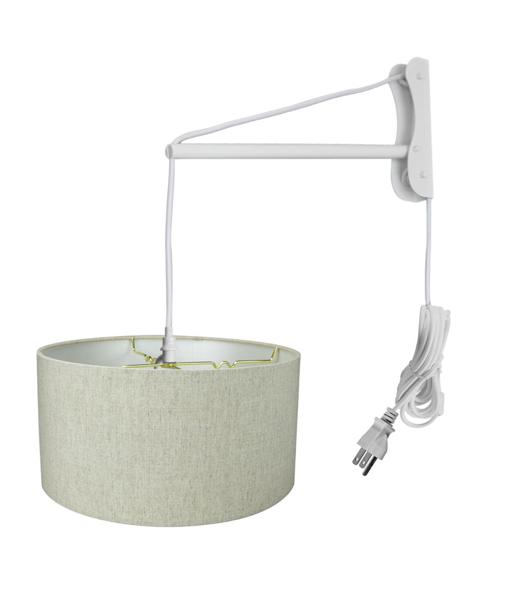 "16""W MAST Plug-In Wall Mount Pendant 2 Light White Cord/Arm with Diffuser Textured Oatmeal Shade"