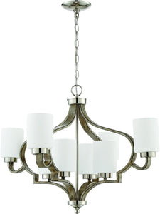 0-003175>Jasmine 8-Light Chandelier Polished Nickel/Weathered Fir