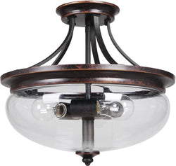 0-008005>Stafford 3-Light Semi Flush Aged Bronze/Textured Black