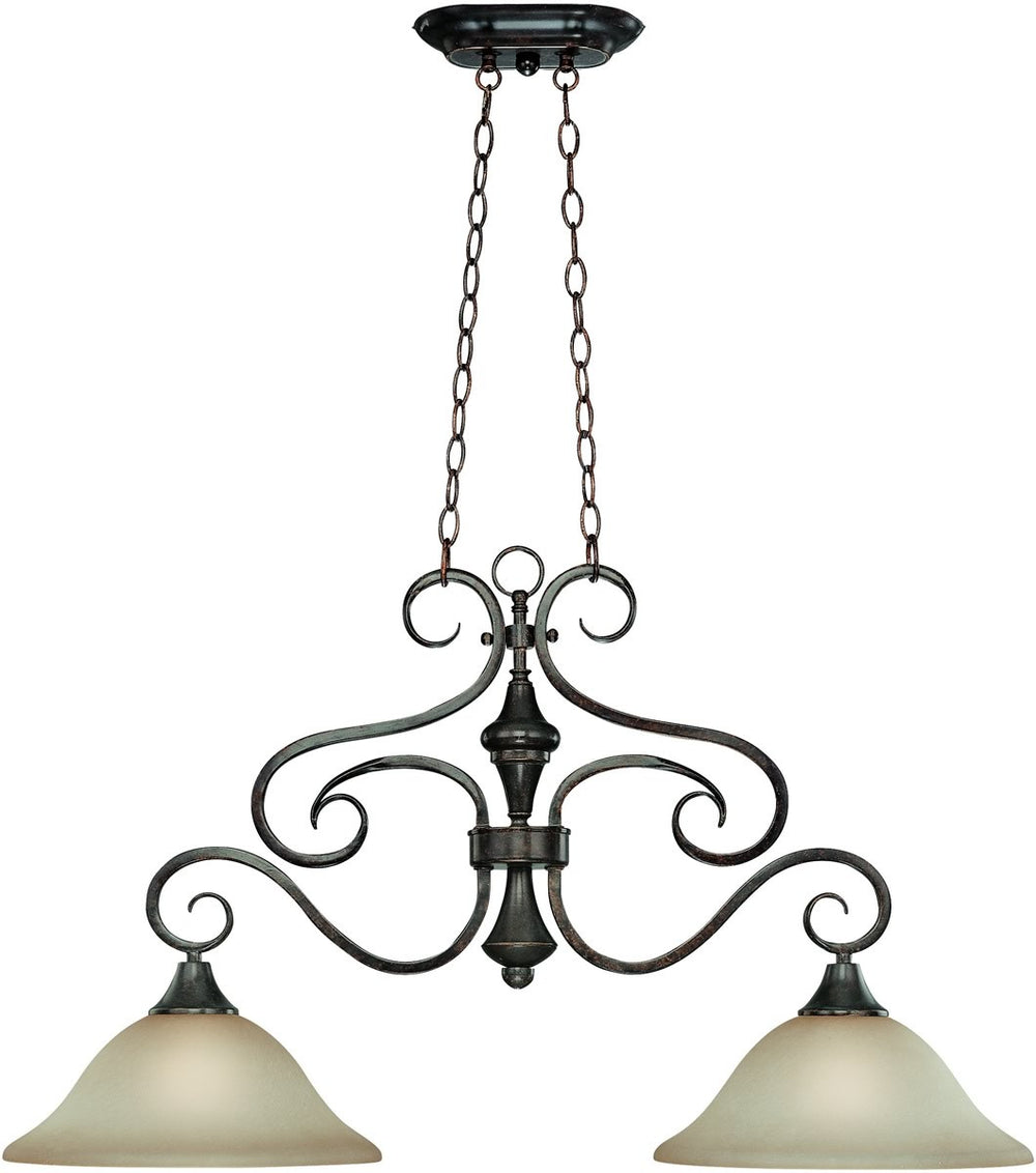 Torrey 2-Light Island Pendant Light Burnished Armor