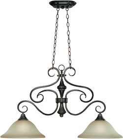 0-008091>Torrey 2-Light Island Pendant Light Burnished Armor