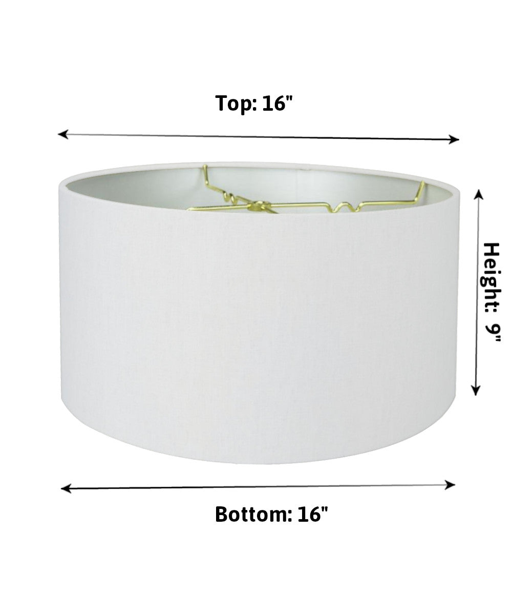 "16""W x 9""H White Linen Hardback Shallow Drum Lampshade"