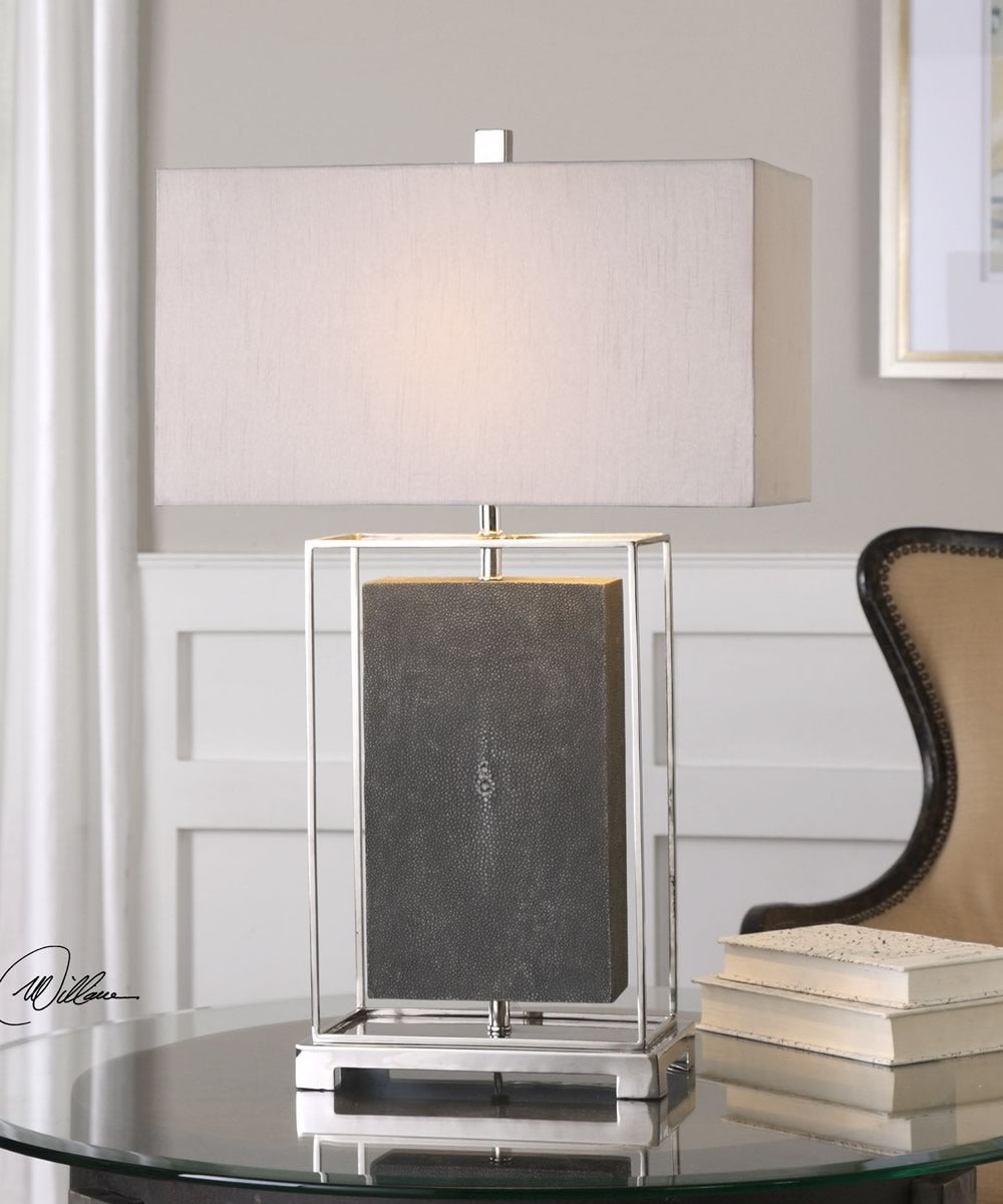 "29""H Sakana Gray Textured Table Lamp"