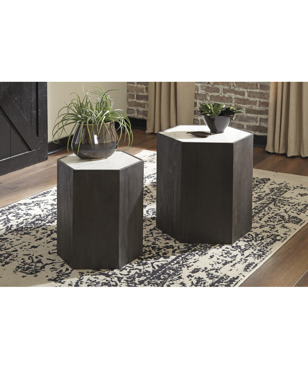 Nanfield Accent Table Set of 2 White/Gray