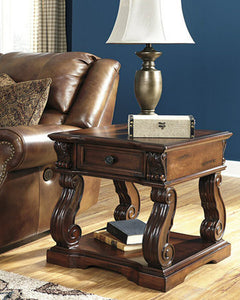 Alymere Square End Table Rustic Brown