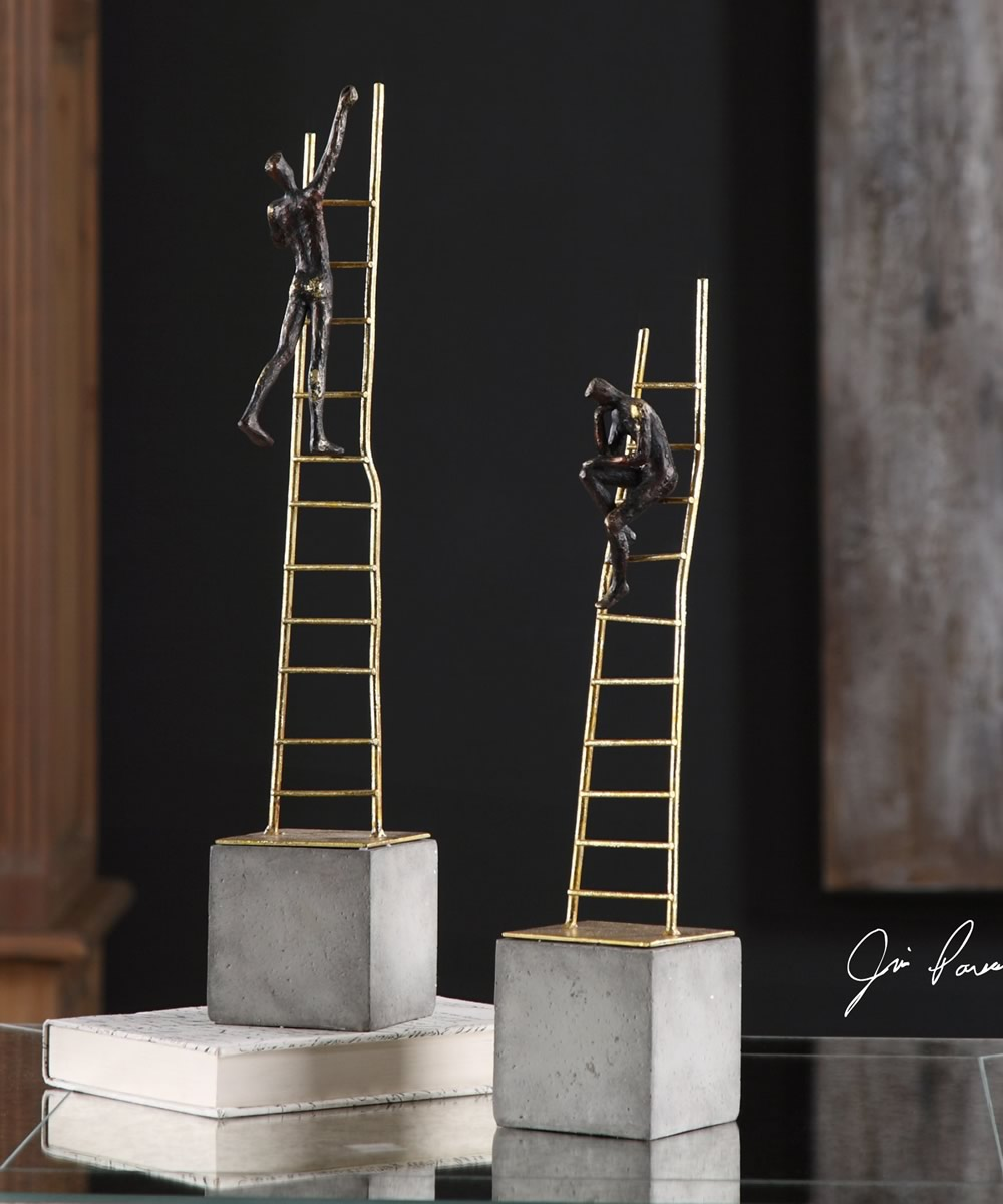 "18""H Ladder Climb Sculpture Set of 2"