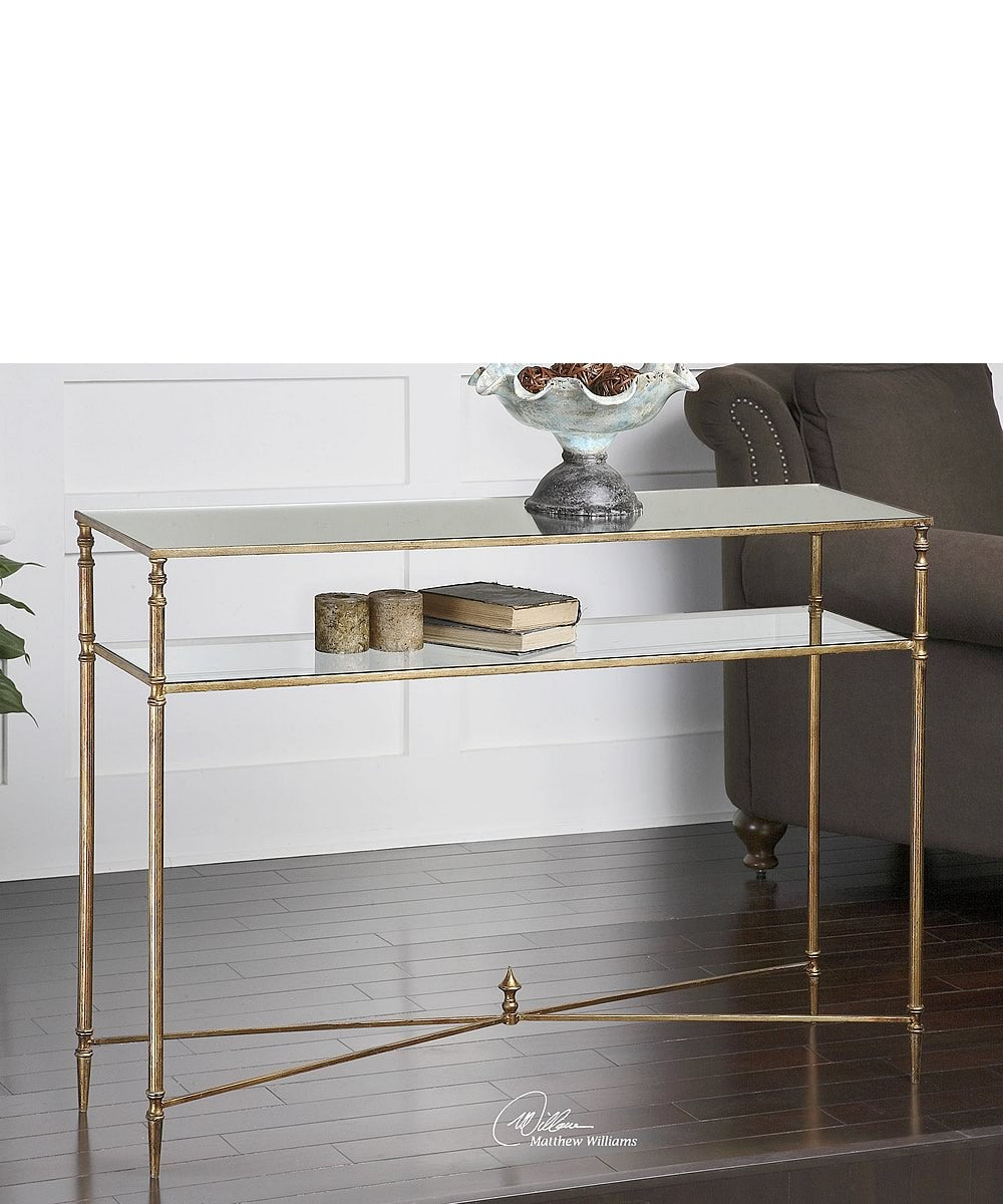 "33""H Henzler Mirrored Glass Console Table"