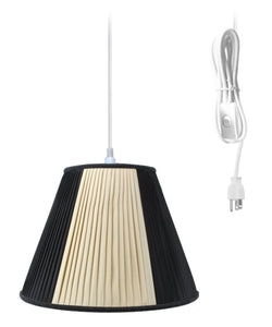 0-000971>Plug In Swag Lamps Pendant in Beige/Black Shade