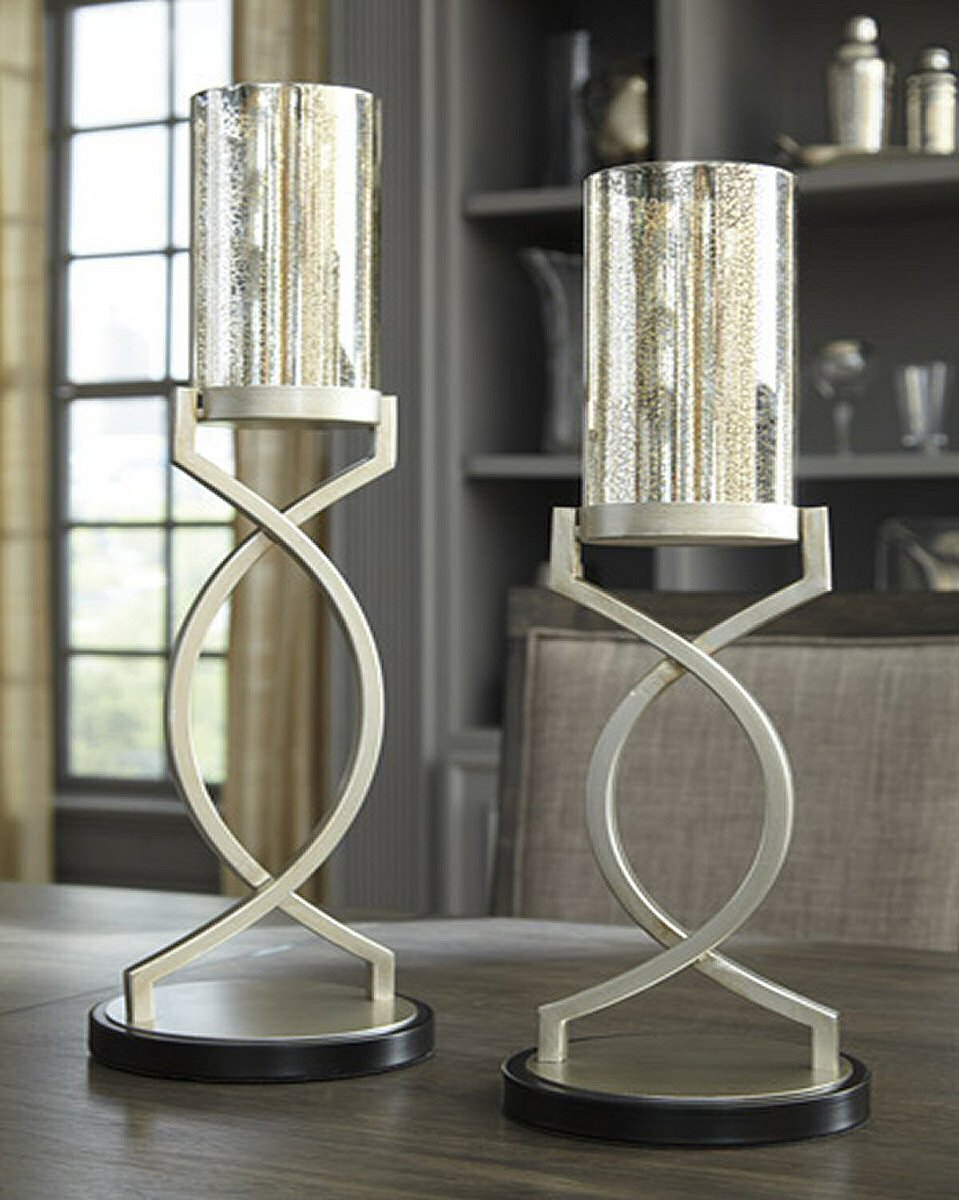 Odele CANDLE HOLDER (Set of 2) Silver