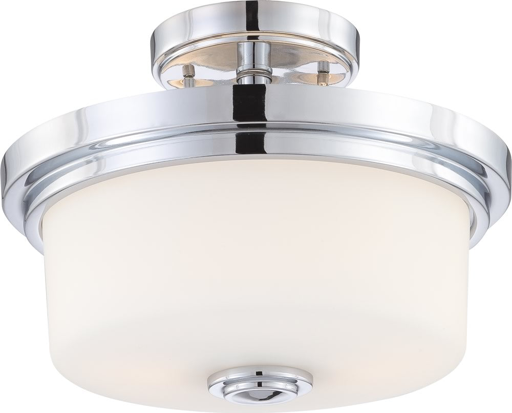 Soho 2-Light Close-to-Ceiling Polished Chrome / Satin White