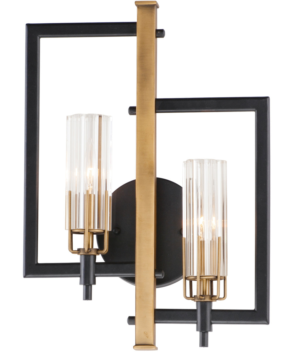 "13""W Flambeau 2-Light Wall Sconce Black / Antique Brass"