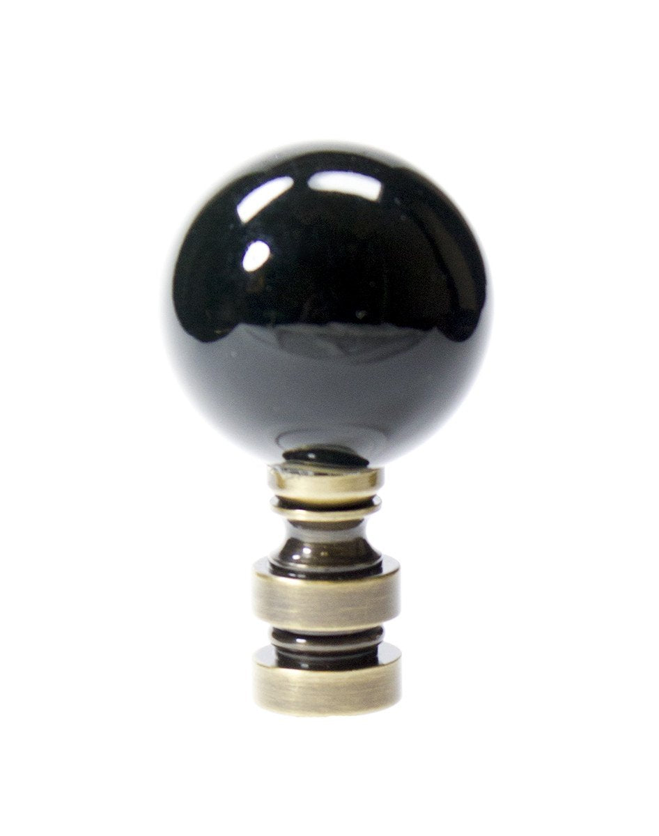 "2""H Ceramic Black Ball Antique Base Finial"