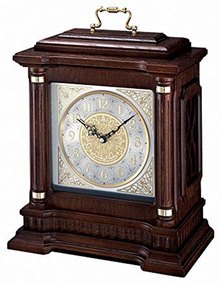 "12""H Chime Carriage  Mantel Clock with Pendulum Metal Accents Ornamental Dial Applied Numerals and Brass Handle"