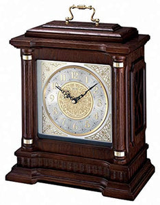 Chime Carriage  Mantel Clock with Pendulum, Metal Accents, Ornamental Dial, Applied Numerals, and Brass Handle