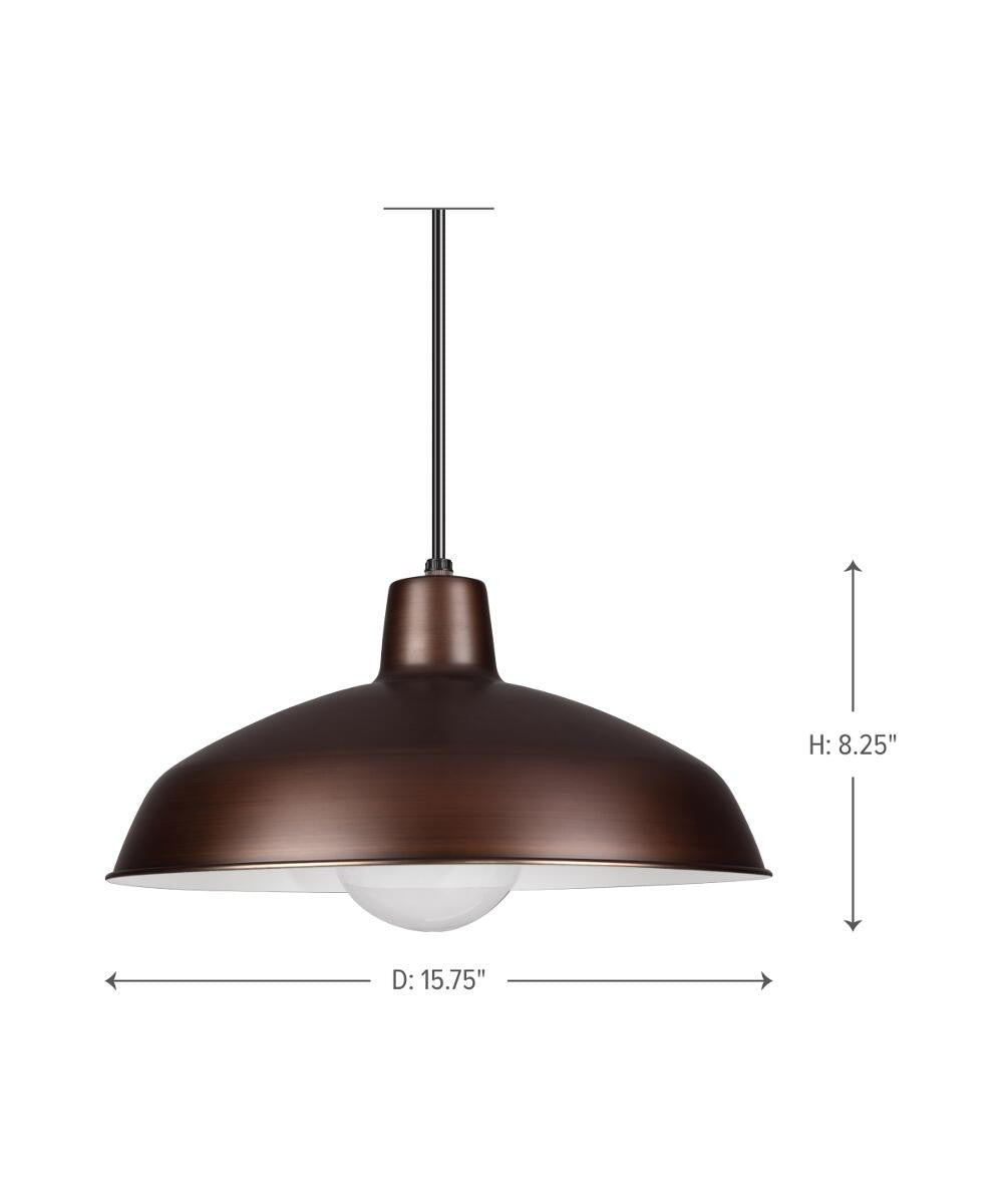"16""W Painted Shade 1-Light Pendant Antique Brushed Copper"
