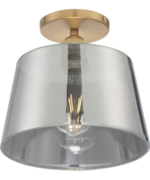 "10""W Motif 1-Light Close-to-Ceiling Brushed Brass / Smoked Glass"