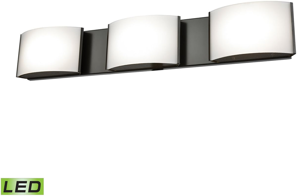 "25""W Pandora LED 3-Light LED Vanity Oiled Bronze/Opal Glass"