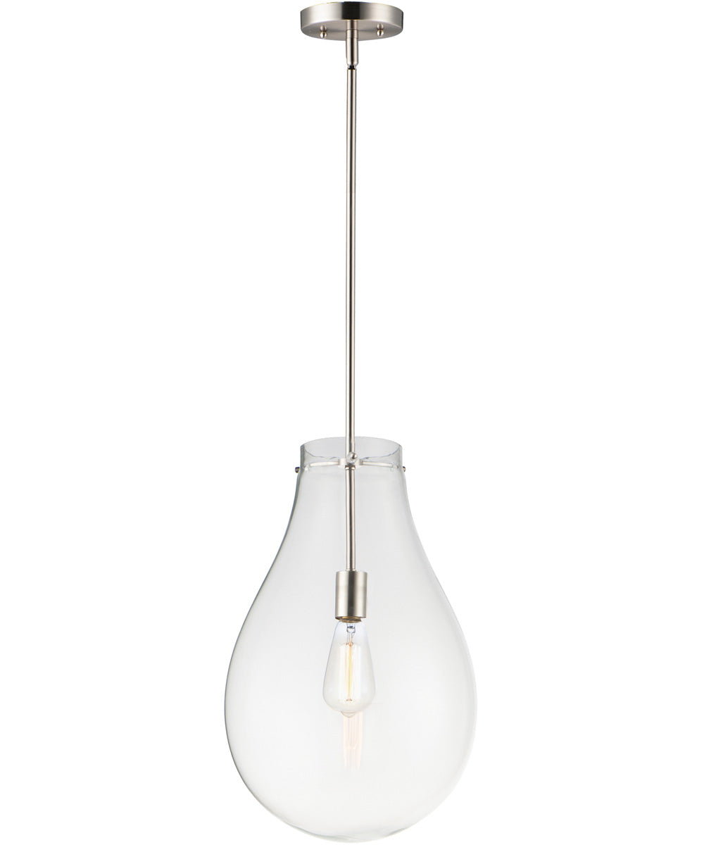 "12""W Gourd 1-Light Pendant Satin Nickel"
