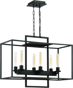 0-009050>Cubic 6-Light Chandelier Aged Bronze Brushed