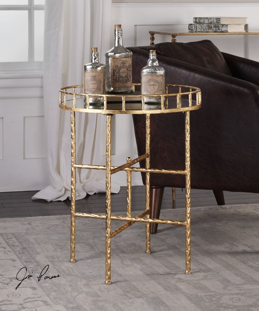 "26""H Tilly Bright Gold Accent Table"
