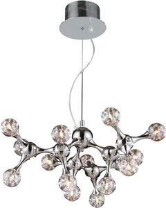 Molecular 15-Light Chandelier Chrome/Iridescent Glass