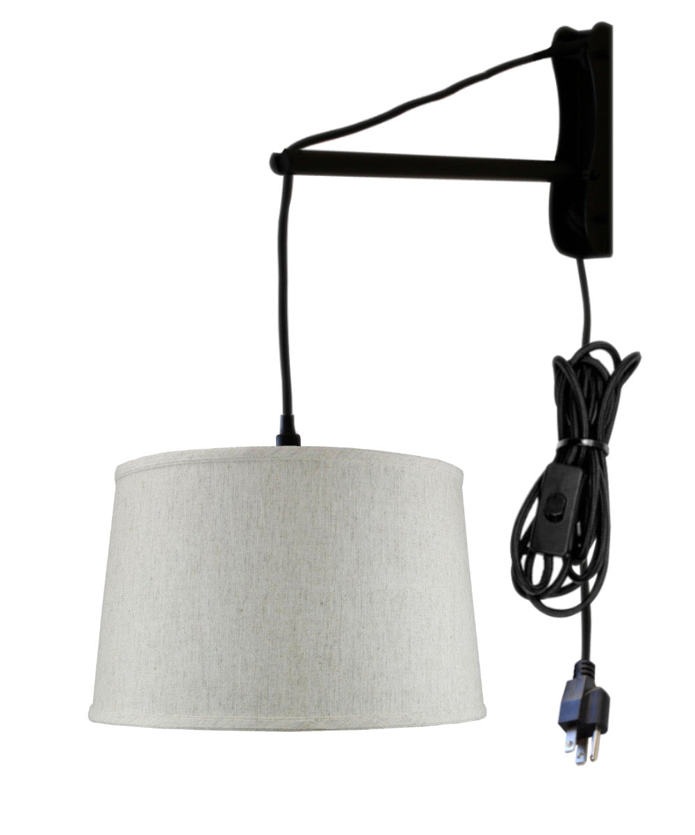 "16""W MAST Plug-In Wall Mount Pendant 1 Light Black Cord/Arm Shallow Drum Textured Oatmeal Shade"