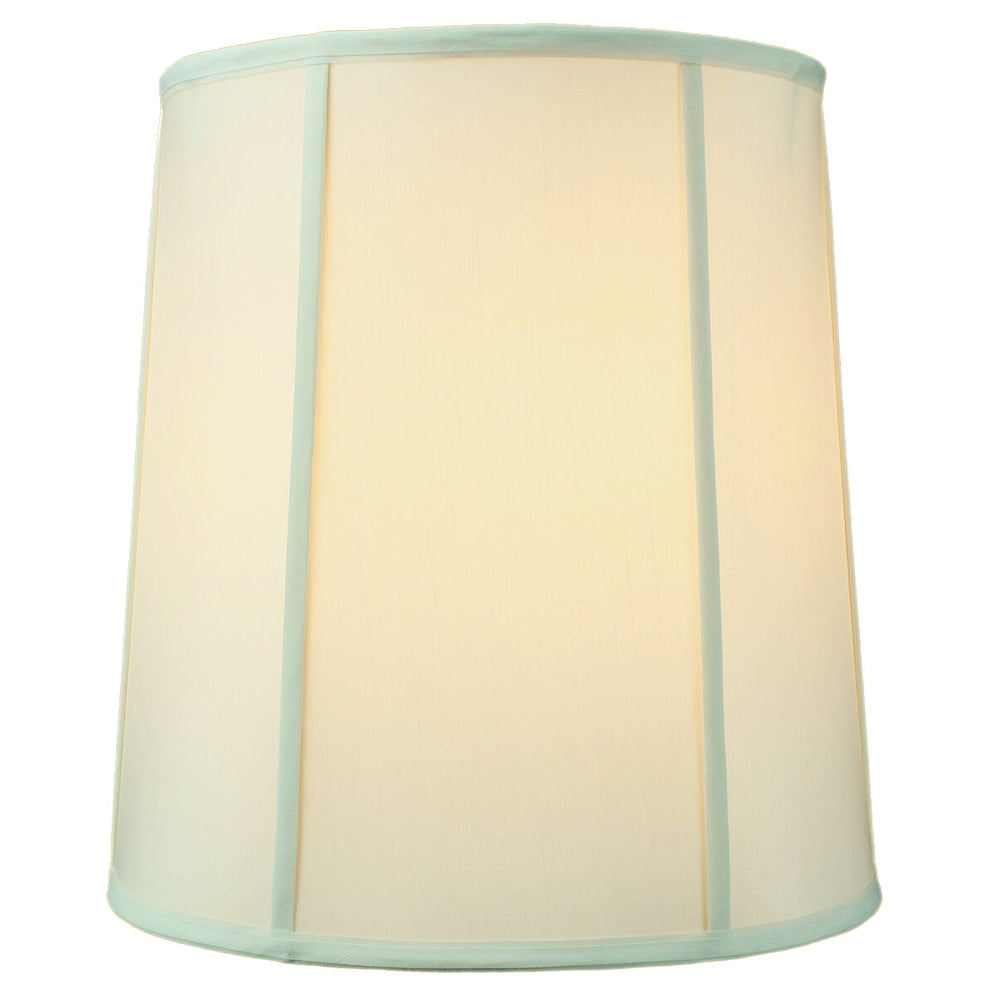 "14""W x 15""H Drum Lampshade with Piping Eggshell"