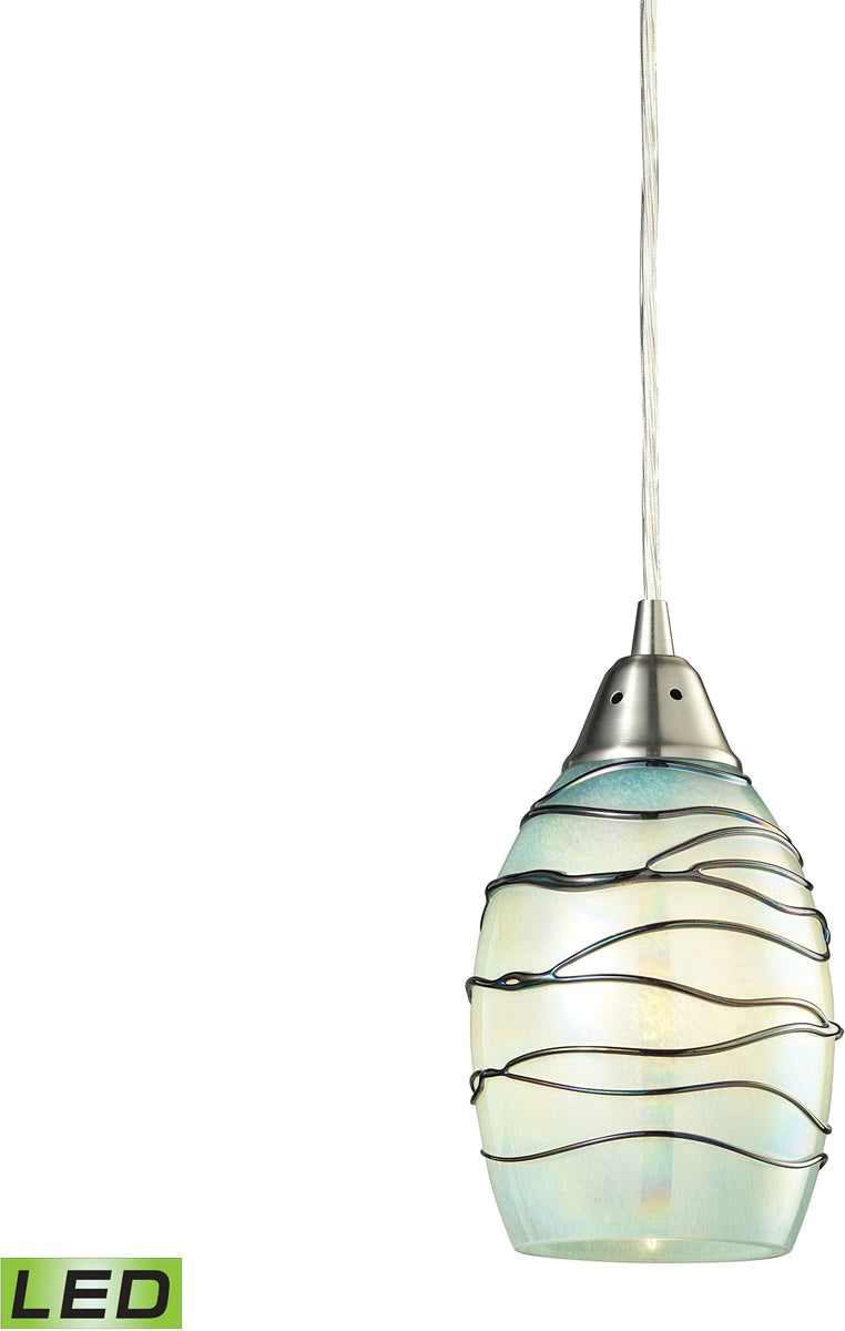 "5""W Vines 1-Light LED Pendant Satin Nickel/Mint Glass"