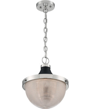 "13""W Faro 1-Light Pendant Polished Nickel / Black Accents"