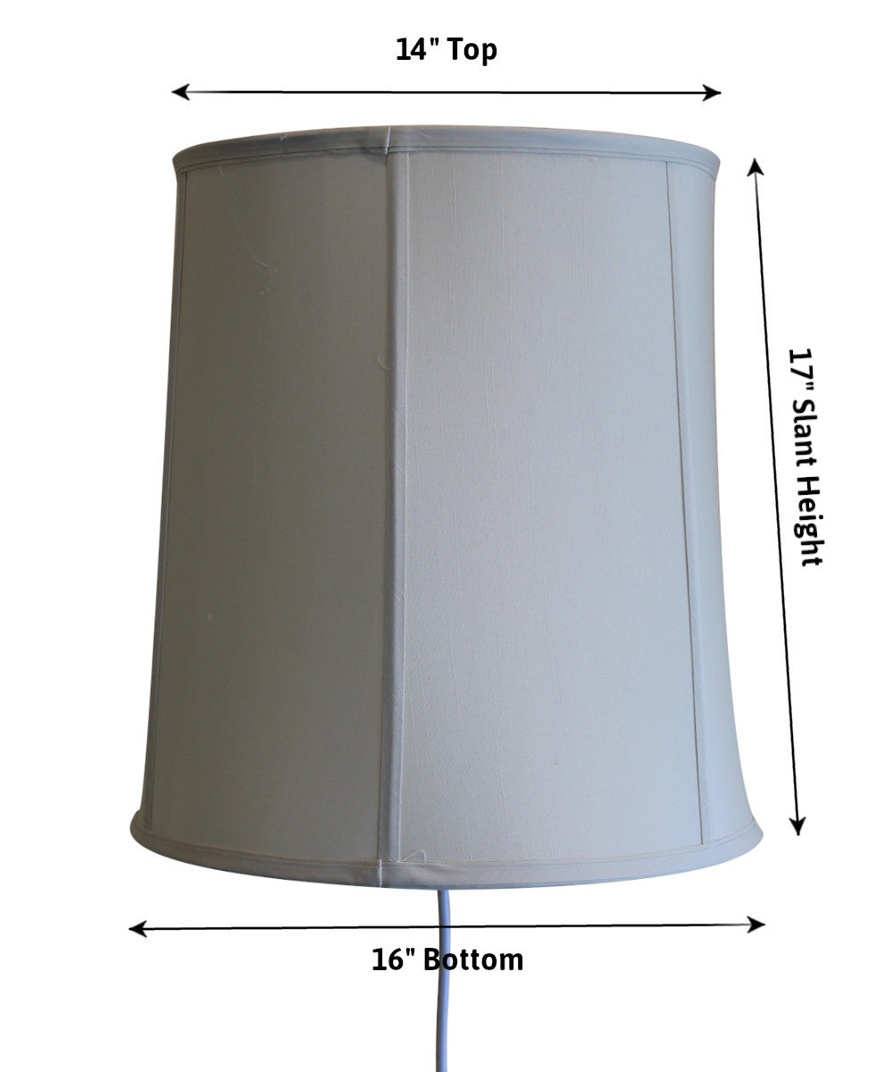 "16""W Floating Shade Plug-In Wall Light Egg Shell Shantung"