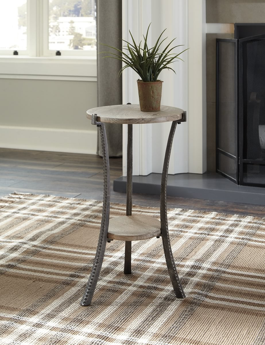 "22""H Enderton Accent Table White Wash/Pewter"