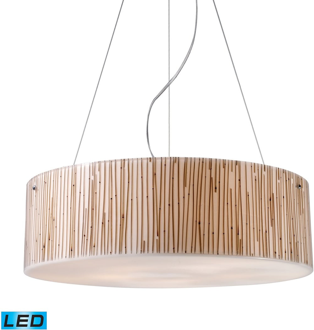 "24""W Modern Organics 5-Light LED Pendant Polished Chrome/Bamboo Stem"