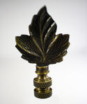 View the Finial Showcase Delicate Leaf Antigue Metal Finish Lamp Finial