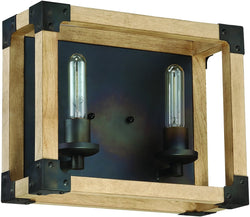 0-002035>Cubic 2-Light Bath Vanity Light Fired Steel/Natural Wood