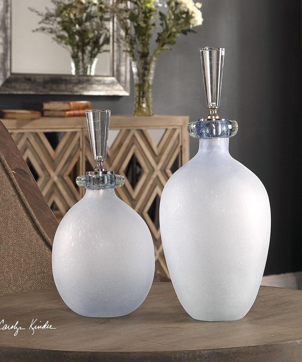"16""H Leah Bubble Glass Containers Set of 2"