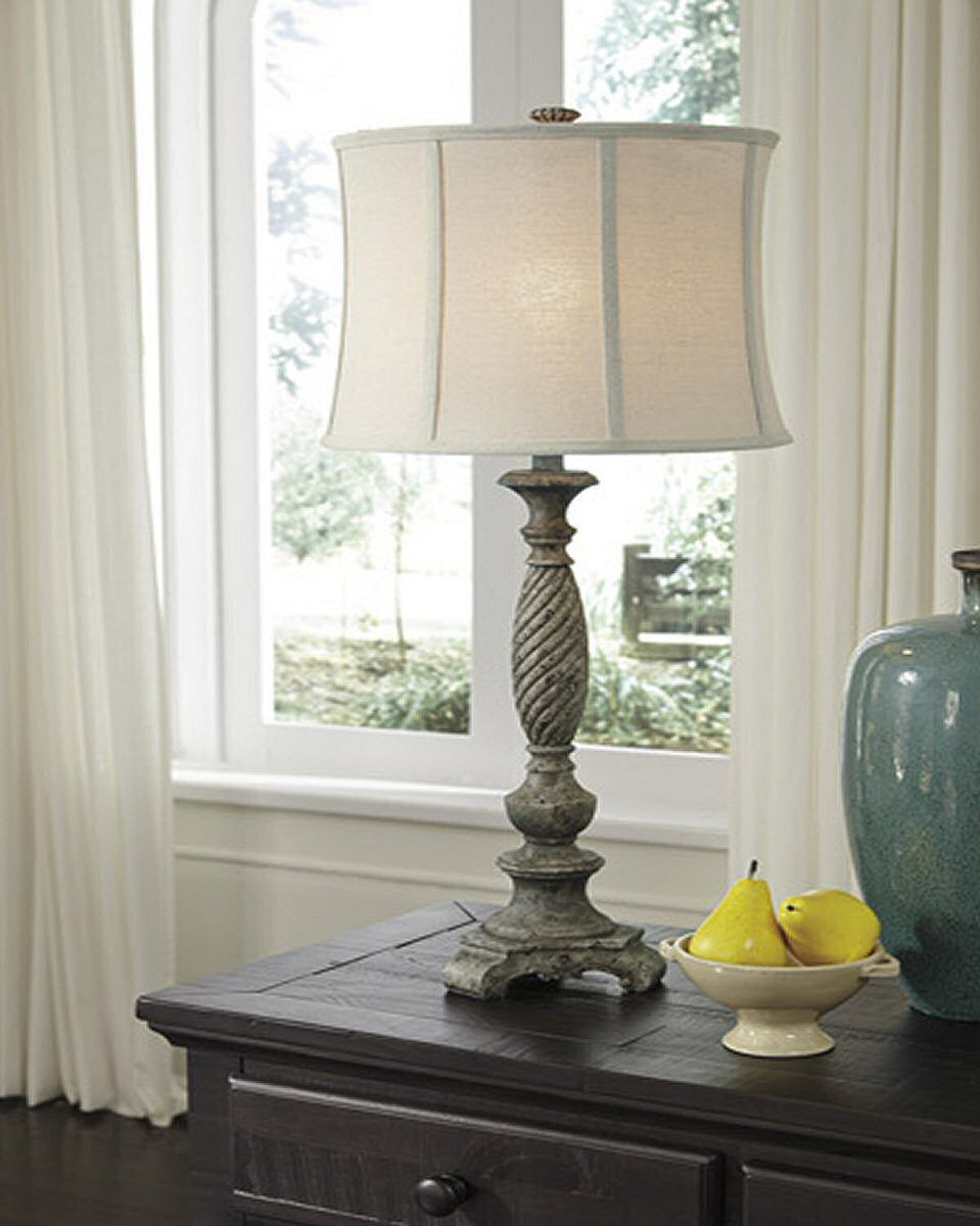 "34""H Alinae Poly Table Lamp Antique Gray"