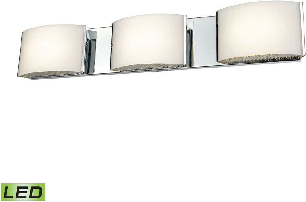 "25""W Pandora LED 3-Light LED Vanity Chrome/Opal Glass"