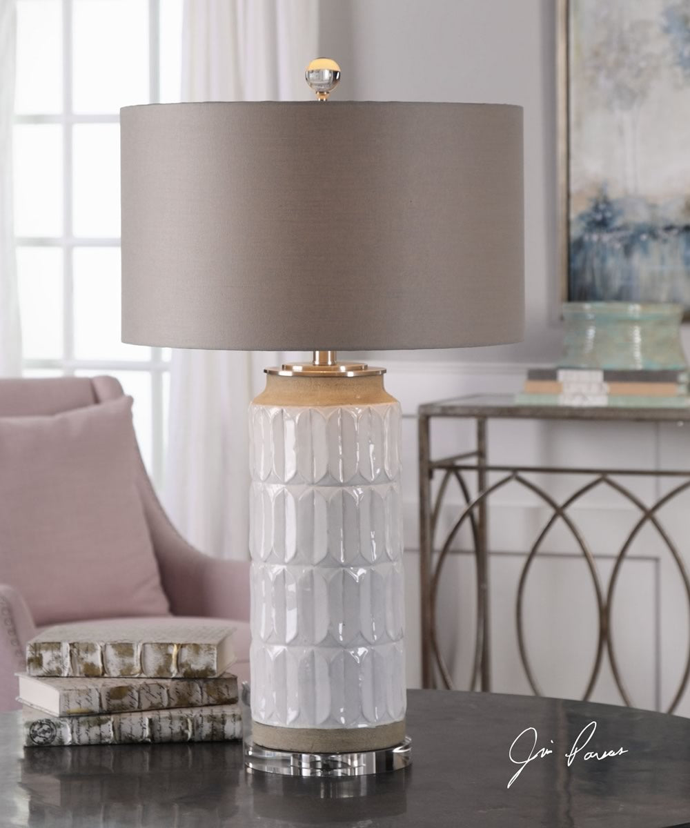 "30""H Athilda Gloss White Table Lamp"