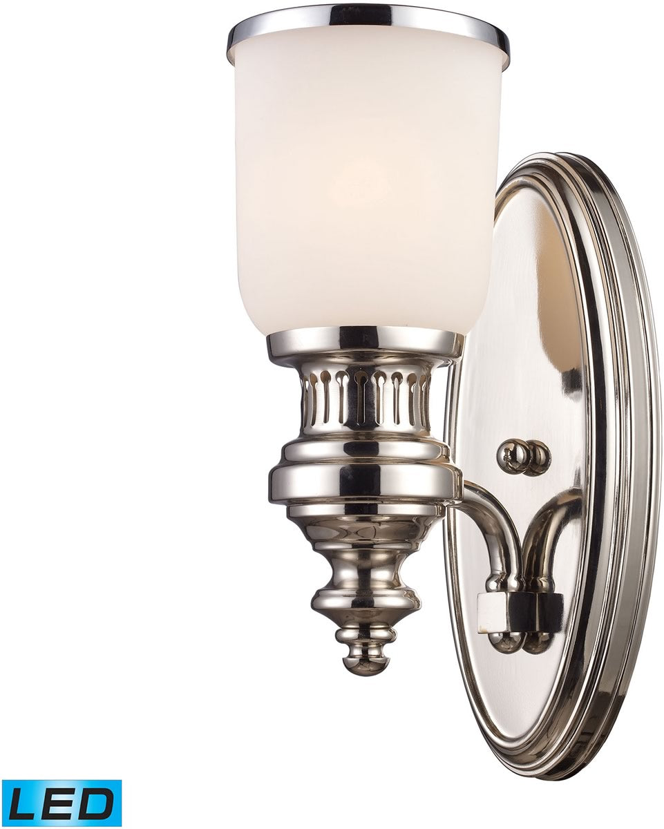"5""W Chadwick 1-Light LED Wall Sconce Polished Nickel/White Glass"