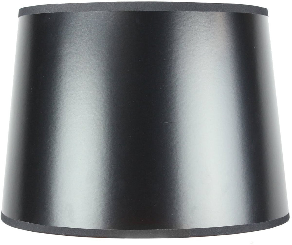 "14""W x 10""H Black Parchment Gold-Lined Drum Lampshade"