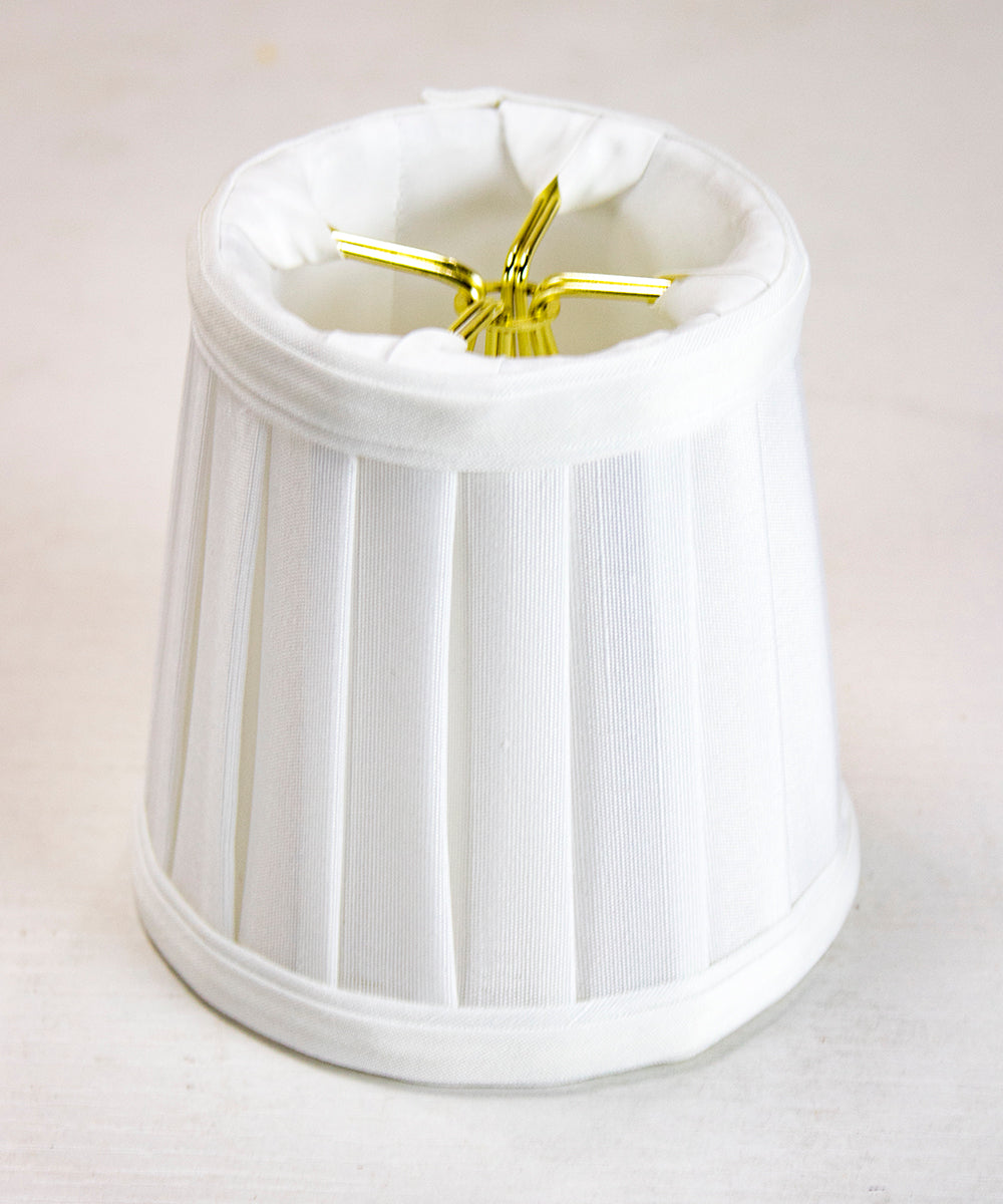 3x4x4 Down White Pleated Clip-on Candelabra Lampshade